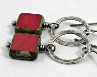 Red Square Earrings, Fused Fine Silver Dangles Holiday Jewelry Gifts for Her