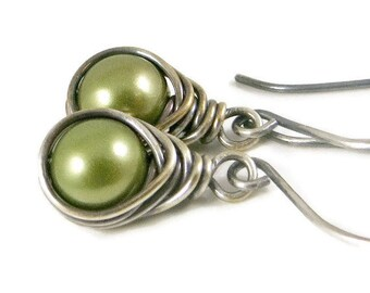 Pearl Earrings, Wire Wrapped Pearl Earrings, Light Green, Holiday Jewelry, Gifts for Her