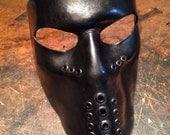 Black Leather mask. Biker mask face shield by skinznhydez steampunk armoury