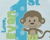Happy First 1st Mother's Day Onsie LoVe w/ Babies Name Cheerful Monkey Version Custom PerSoNaLiZeD w/ BOY Name Great Baby Gift for NEW Mommy