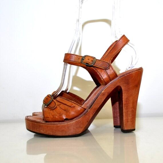 boho wood platform sandals vintage 70s size by