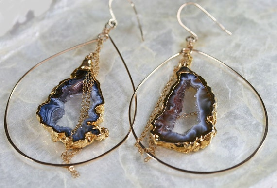Druzy Earrings -  Large Hoop Earrings - Geode Earrings - Dark Grey Brown Druzy Earrings - Drusy Earrings - Hammered Hoop Earrings