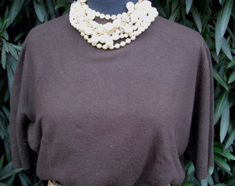 Vintage 50s/60s Sweater, Penney's, Chocolate Brown Cropped Pin-Up Sweater, Size 38