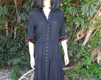 Vintage Nelly Don Dress with Mink Collar and Sleeve Cuffs