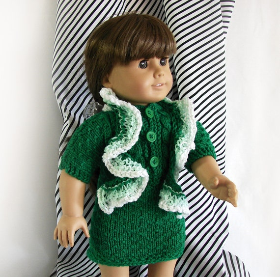 Doll Green Dress, Scarf, and Slipper Shoes ~ 18 inch Knit Doll Dress ~ Knit Acrylic Dress ~ American Girl Doll ~ St. Patricks Day Dress