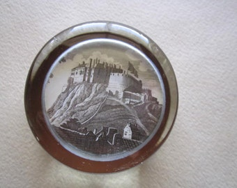 Vintage Glass Paperweight with Castle on a hill-Vintage Paperweight, Castles, Fairy Tale