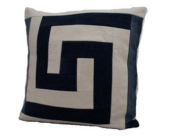 "Modern Quilt Pillow / Recycled Denim Pillow / Indigo Pillow / 22"" x 22"""