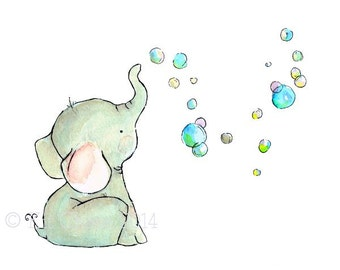 Children's Art -- Elephant Bubbles -- Art Print