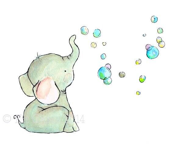 children 39 s art elephant bubbles art print. Black Bedroom Furniture Sets. Home Design Ideas