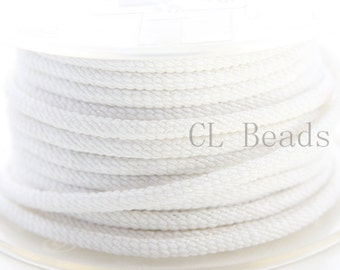3 Feet White Braided Fabric Cord-Round 3mm (ML2213001)