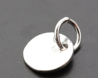 One Piece Sterling Silver Blank Pendant (With Jumpring)-Stamp on - Metal stamping - Round 9mm