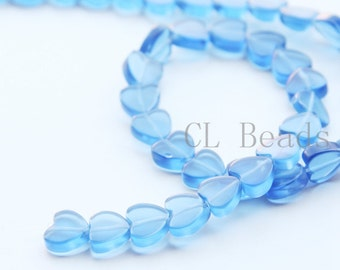 One Full Strand (15 Inches) Blue Stone - Heart 8mm (204)