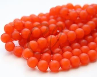 25pcs Czech Press Glass Round Beads - Matte Red 8mm (PG821415)