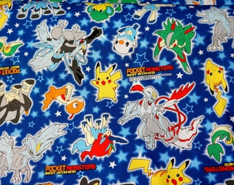 Pokemon licensed  fabric 1 meter Pokemon Fabric pokemon and stars 100 cm by 106 cm or 19.6 by 42 inches Printed in Japan ©nintendo ©pokemon