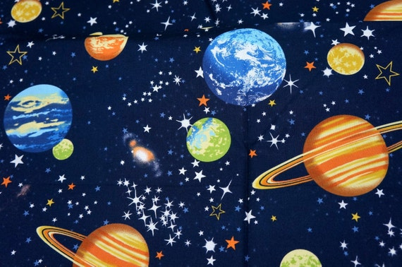 Japanese fabric stars and planets print half by beautifulwork for Planet print fabric