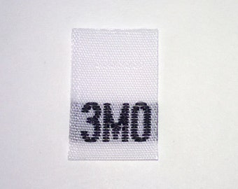Size 3mo (Three Month) Woven Clothing Size Tag (Package of 500)