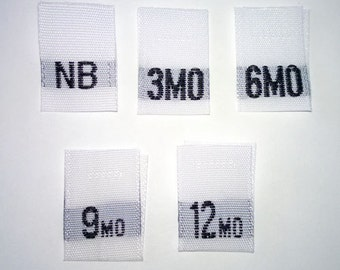 Custom White Mixed Size Lables- Per Customer Specifications- Woven Clothing Tags (Package of 50)