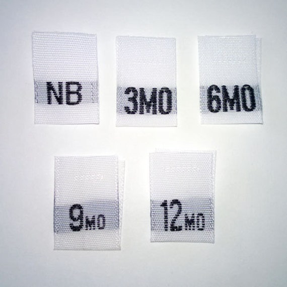 Mixed Baby Size Tags - NB, 3mo, 6mo, 9mo, and 12mo Woven Clothing Tags (Package of 50)
