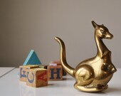 1970s Bronze Kangaroo w/ Baby~Nursery Decor