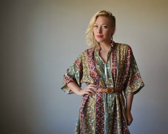 1980s Native Print Caftan~Size Extra small to Large
