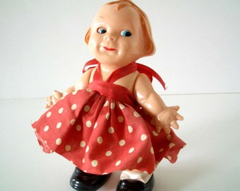 Vintage PMA Incline Walking Doll with Red Dress