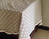 """Beige and offwhite square linen table cloth 52""""x52"""""""