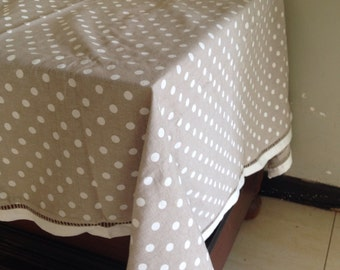 "Beige and offwhite square linen table cloth 52""x52"""