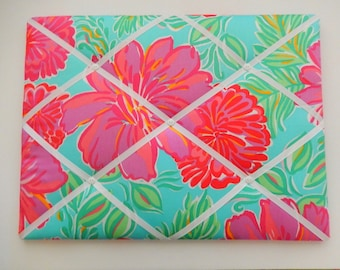 New memo board made with Lilly Pulitzer Shorely Blue Bellina fabric