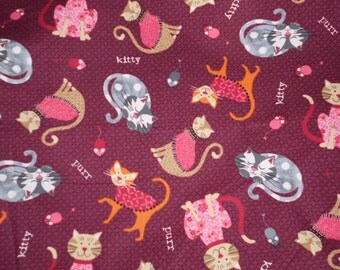 Tossed Kitty Burgandy Novelty Print Fabric sold by the 1/2 yard Cotton Fabric 44 inches wide