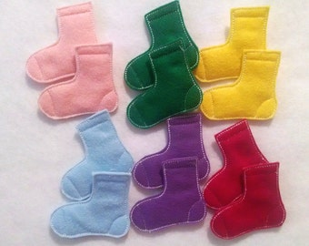 Felt Learn your colors matching Game set includes 7 matches 14 socks #3871