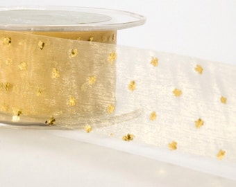 1.5 Inch Sheer Gold on Gold Glitter Dotted Ribbon - 1 yard
