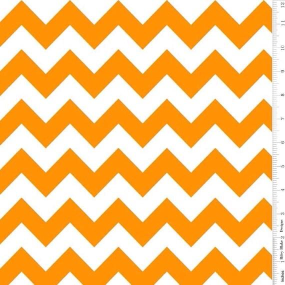 Riley Blake Medium Chevron in Neon Orange and White Fabric - 1 ...