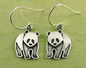 Tiny panda earrings