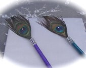 TWO Feather Pen Favors in Teal and Purple