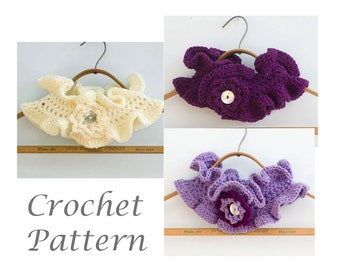PDF Crochet Pattern for Ruffled Neck Warmer with Flower, Buttoned Ruffle Neckwarmer Instant Download Scarf Pattern