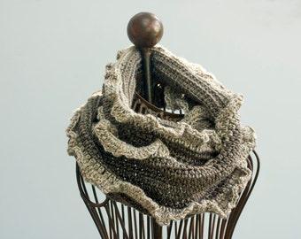 Circle Scarf, Crochet Ruffle Cowl, Infinity Scarf,  Brown Cream Cowl Scarf, Women Winter Scarf