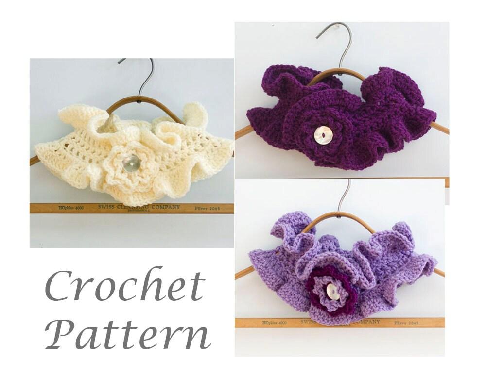 Crochet Ruffle Flower Pattern : PDF Crochet Pattern for Ruffled Neck Warmer with Flower