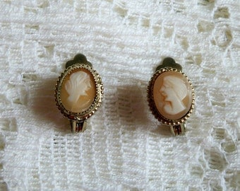 SALE! Vintage 1960s Shell Cameo Pierced Earrings Ladies Facing