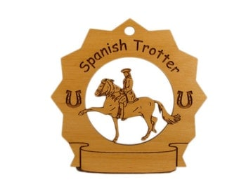 8289 Spanish Trotter Horse Personalized Wood Ornament - Free Shipping
