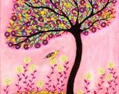 Original Painting, Blush, Bird Tree Painting, Mixed Media Collage Art, Wall Decor Art