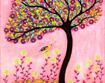 Original Painting, Blush, Bird Tree Painting, Mixed Media Collage Art, Wall Decor Art