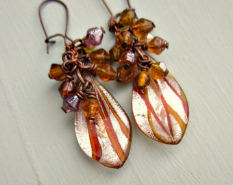 Dichroic Amber and Honey Glass Teardrop Dangle Earrings with Beaded Cluster: Vera