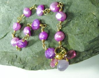 25% OFF Purple Pearl Gold Bracelet