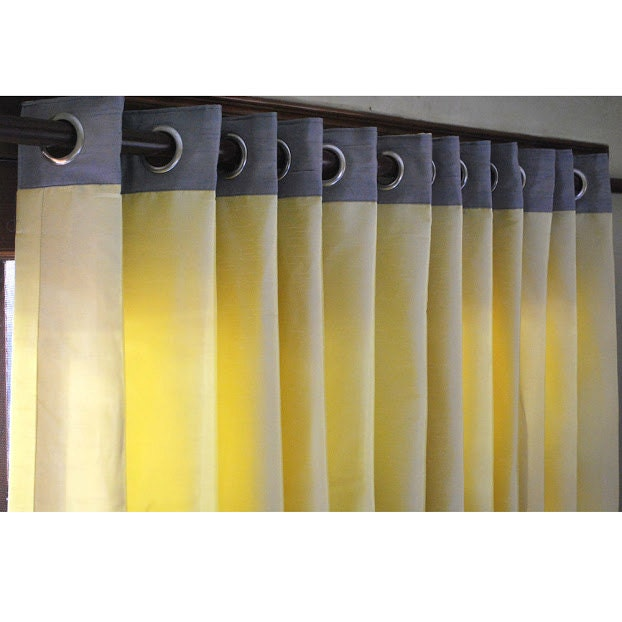 Window Curtains Gray And Yellow: Yellow And Grey Curtain Panels 52x84 Grommet