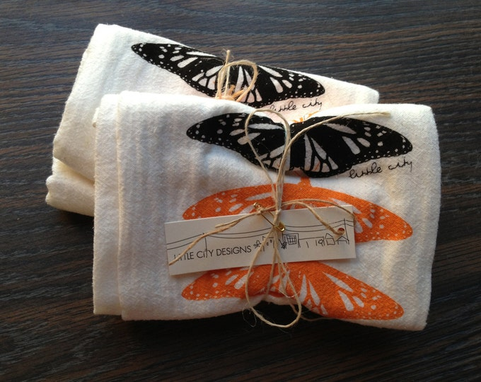 Monarch Butterfly Flour Sack Tea Towels - Set of 2