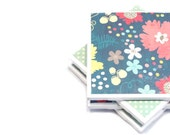 Tile Coasters - Polka Dot Floral - Set of 4 (Mint Green, Dark Blue, Pink and Yellow)