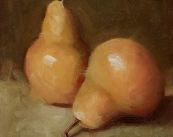 "Small Original Oil Painting, Pears, Still LIfe, 6 x 6"" Unframed, Home Decor, Wall Art"