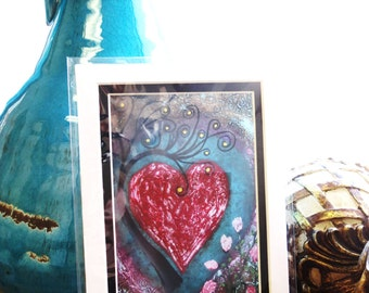 5x7 Matted Photo Print, Hearts, Love, Red, Lovers