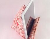 Orange and Cream Print iPad 1 iPad 2 iPad 3 Ereader Pillow Stand