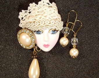 Lady Face Head Pin Brooch Woman Head Porcelain-Look Resin Flapper Figural WITH Earrings - Norma